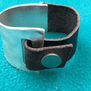 Jewelry - Leather/Silver Asymmetrical Snap Cuff Bracelet